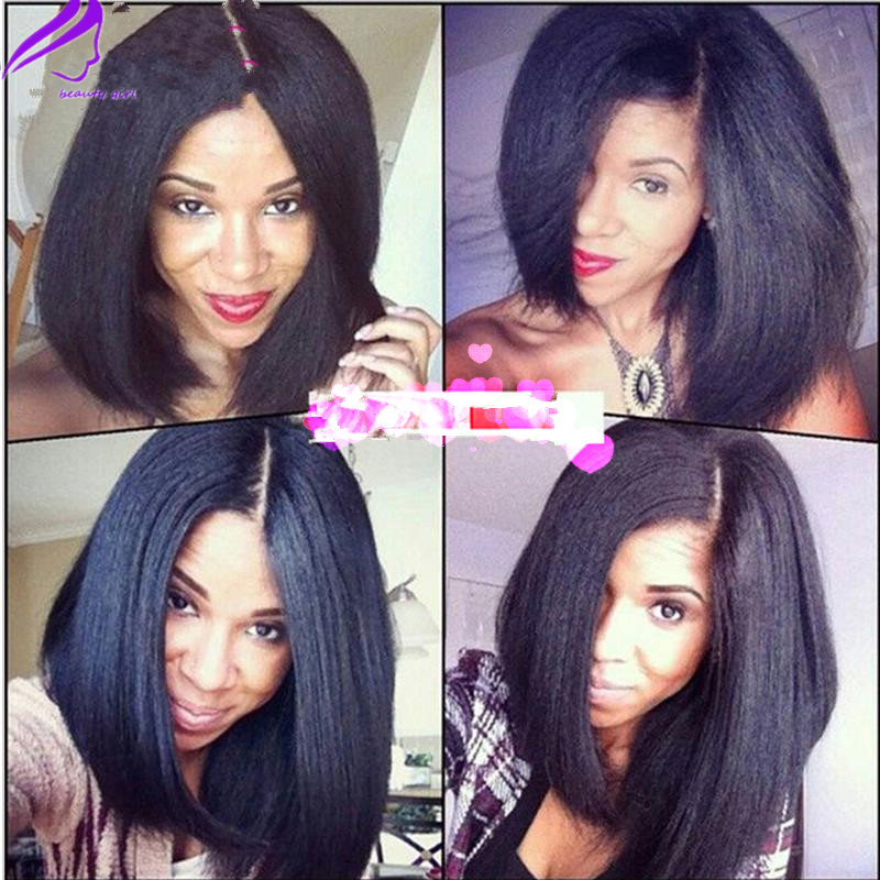 Pleasant Aliexpress Com Buy Stock 150Density Yaki Straight Silk Base Lace Short Hairstyles For Black Women Fulllsitofus
