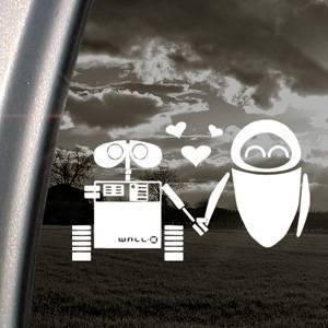 DISNEY White Decal Sticker WALL E EVE ROBOT LOVE Art Car White Decal Sticker