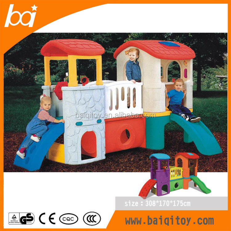classic Plastic Toys Series kids favorite lovely plastic Slide Hut Combination portable