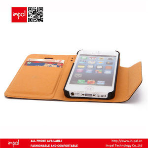 Hot selling wallet leather case for iphone5 with two slots to store credit cards