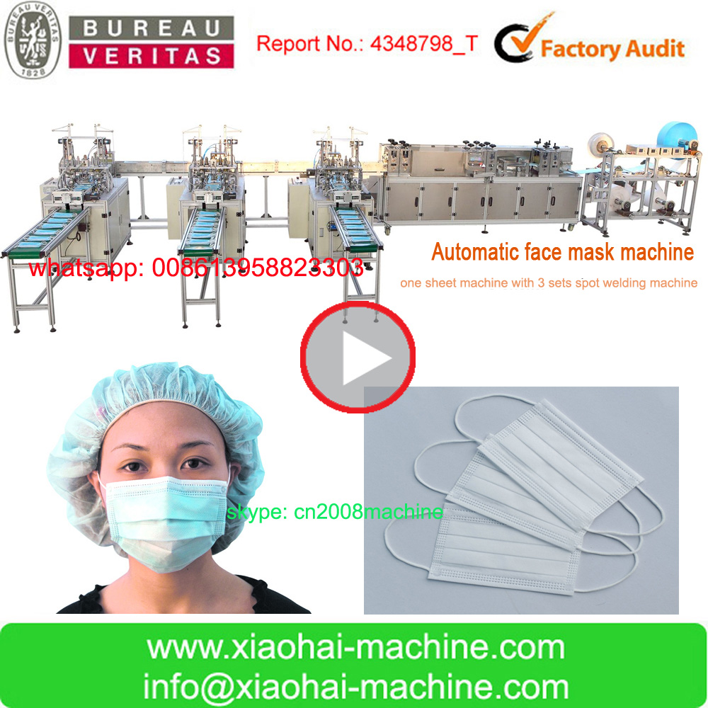 HAS VIDEO CIS Surgical Non woven Face Mask Machine ( shoe cover making machine,bouffant cap making machine,dotor cap machine)