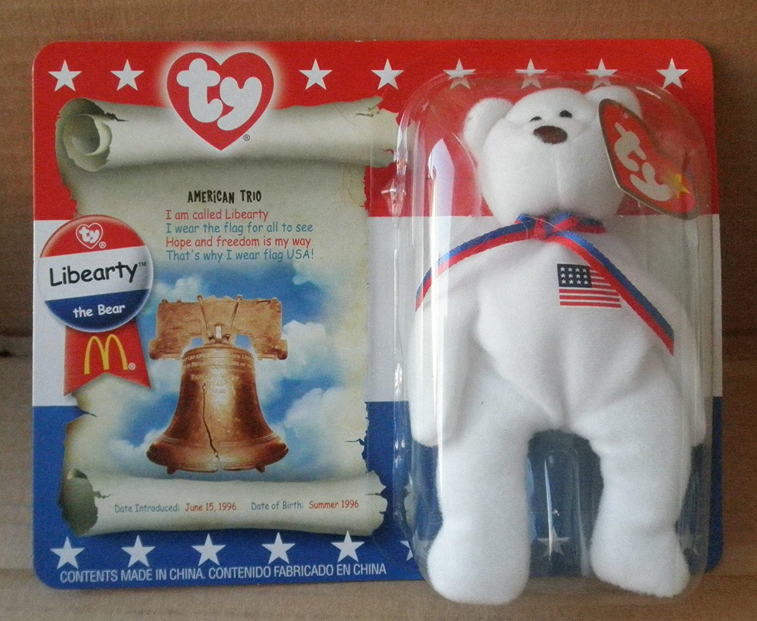 a01a9e22597 Get Quotations · McDonalds TY Beanie Babies Libearty Teddy Bear Stuffed  Animal Plush Toy - 5 inches tall -