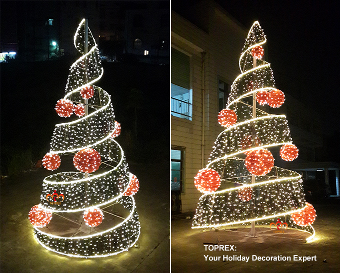 Warm White Outdoor Christmas Decoration Led Spiral Ribbon
