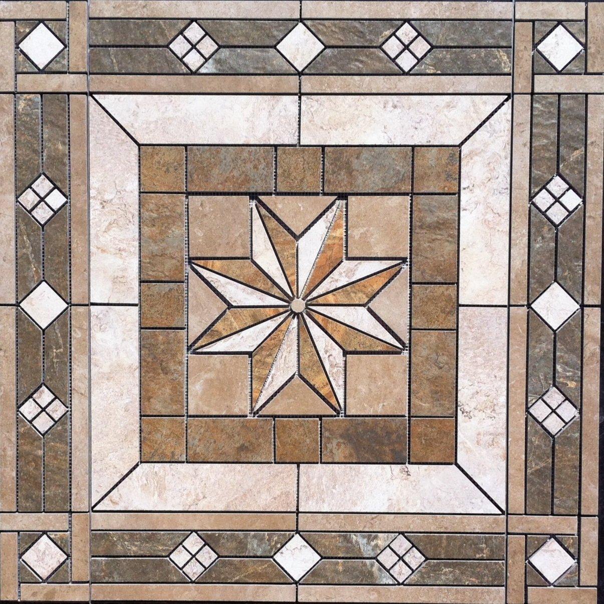 32 X Tile Medallion Mosaic Inlay American Olean Kendal Slate Series