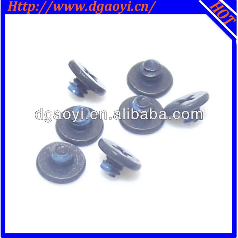 Black large flat head phillips blue nylon patch micro precision screws