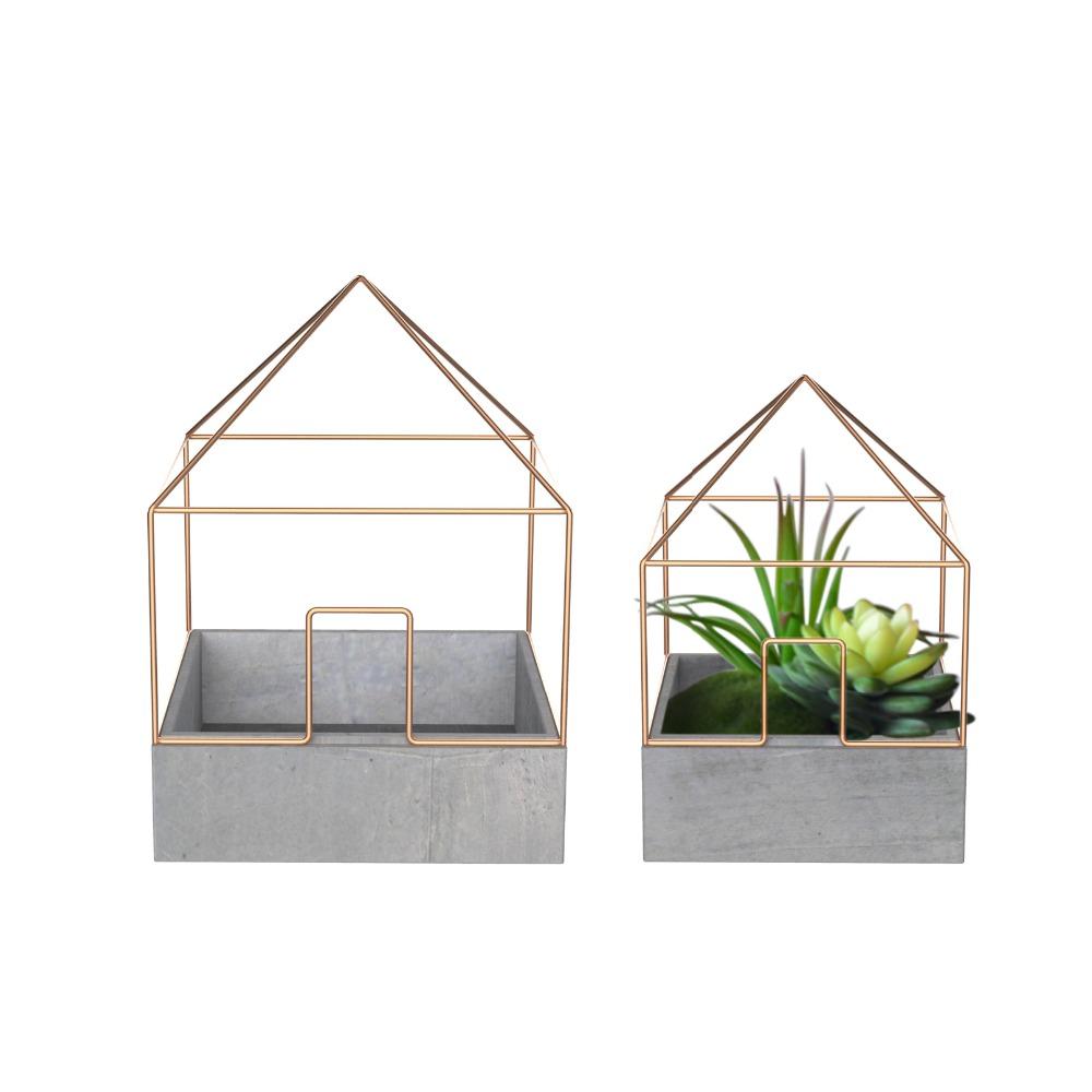 vierkante vorm beton plantenbakken voor tuin decoratie met ijzerdraad bloempotten en