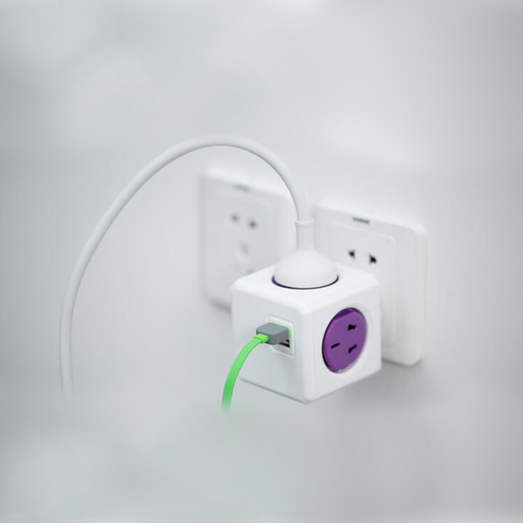 Multi Network Wall Sockets Switches Powercube extension 3m cable plug with socket UK plug with dual USB port