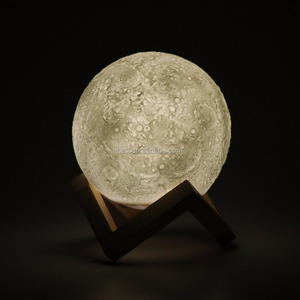 3D LED Printed Warm White Moon Lamp Touch Switch With Remote Control Real Moon Shape Lamp For Decoration