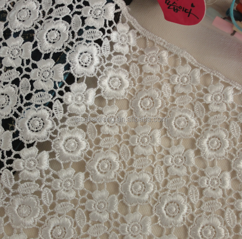 water soluble chemical polyester lace fabric African French Malaysia fabric price per yard