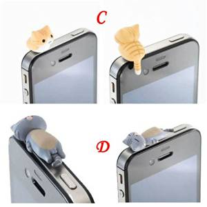 ZOEAST 6 Kinds Adorable Little Yellow Grey Black White Cat Sweet Home Cat Kitten Kitty Dust Plug 3.5mm Smart Cell Mobile Phone Plug Headphone Jack Earphone Cap Ear Cap Dustproof Plug Charm iPhone Plug Charm for iPhone 4 4S 5 5S HTC Samsung Ipad 2 3 4 Mini Ipod Blackberry Sony Nokia etc. (C:Yellow