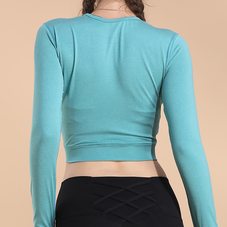 Latest Women Yoga Wear Long Sleeved T Shirt Dot Lumbar Belly Sports Wear
