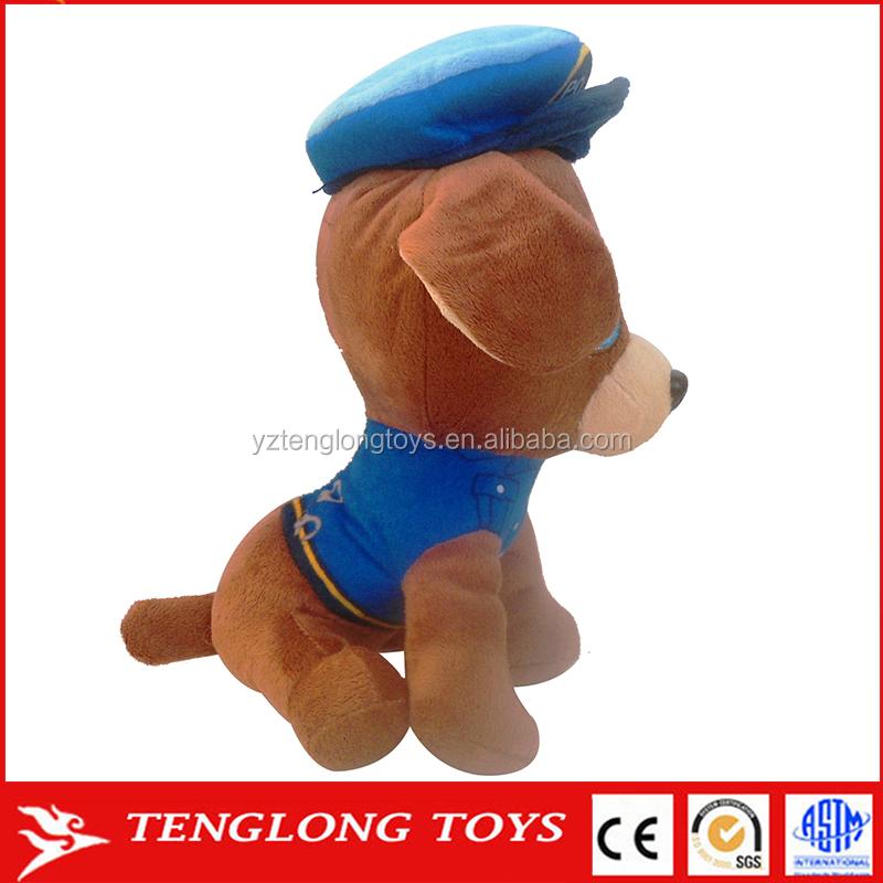 Custom Stuffed Animal Police Dog Plush Toys With Uniform And Hat