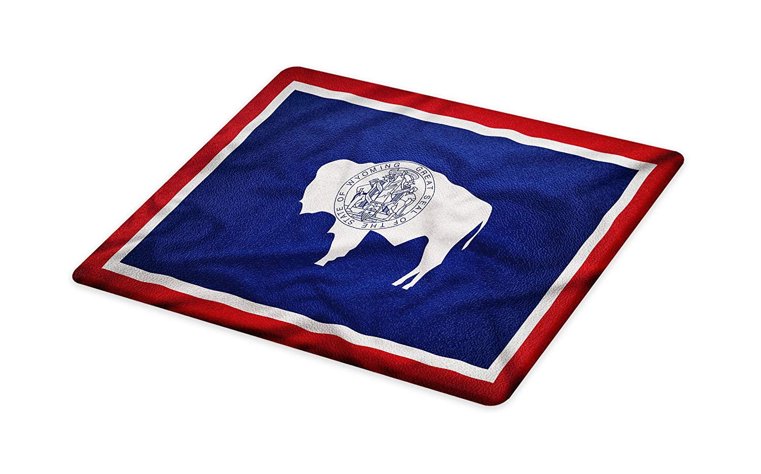 Lunarable American Cutting Board, Wyoming Flag American Bison Native Americans Purity and Uprightness, Decorative Tempered Glass Cutting and Serving Board, Small Size, Ruby Navy Blue Coconut