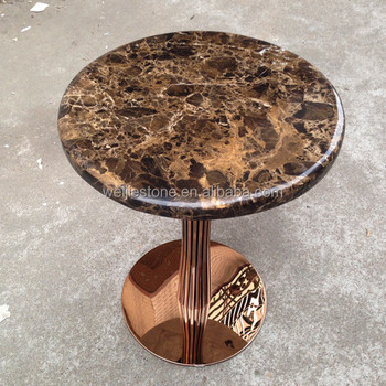 Spain Dark Emperador Marble Small Round Side Table
