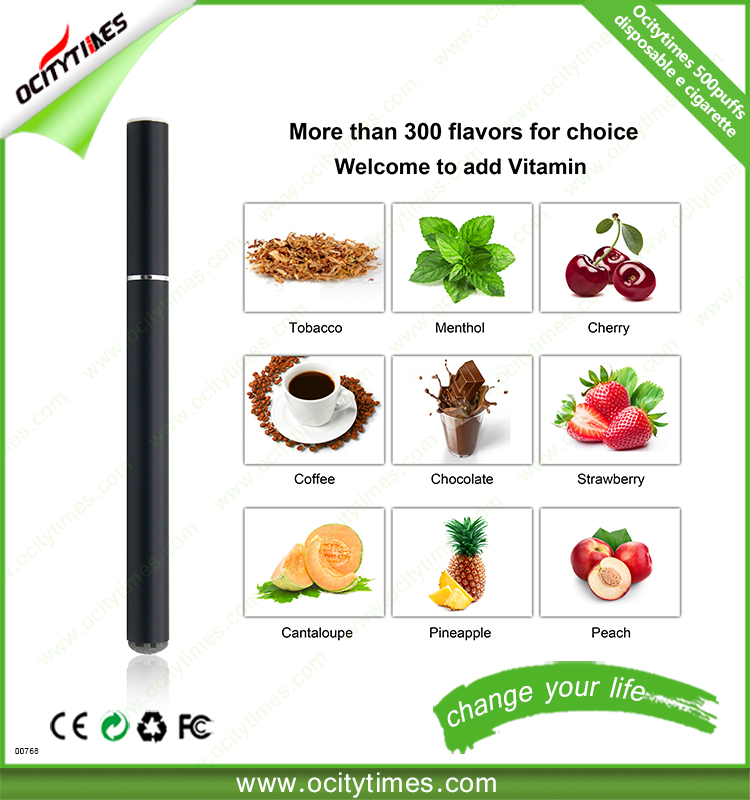Ocitytimes 2017 prefilled empty disposable e cigarette 500 puffs 800 puffs brand logo package