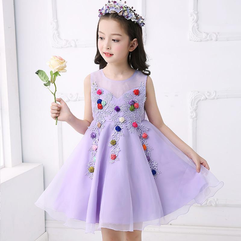 Boda púrpura vestido para niños niña completa flores decorar partido ...