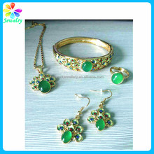 Tin kids children Gold bangle earring necklace set green jade bangle