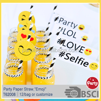 Emoji Themed Party Paper Straw