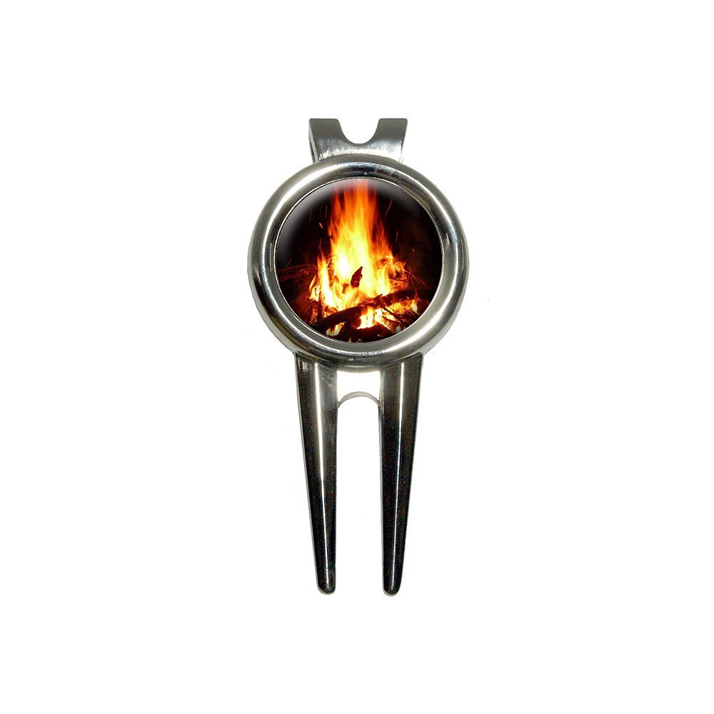 Graphics and More Campfire - Camp Camping Fire Pit Logs Flames Golf Divot Repair Tool and Ball Marker