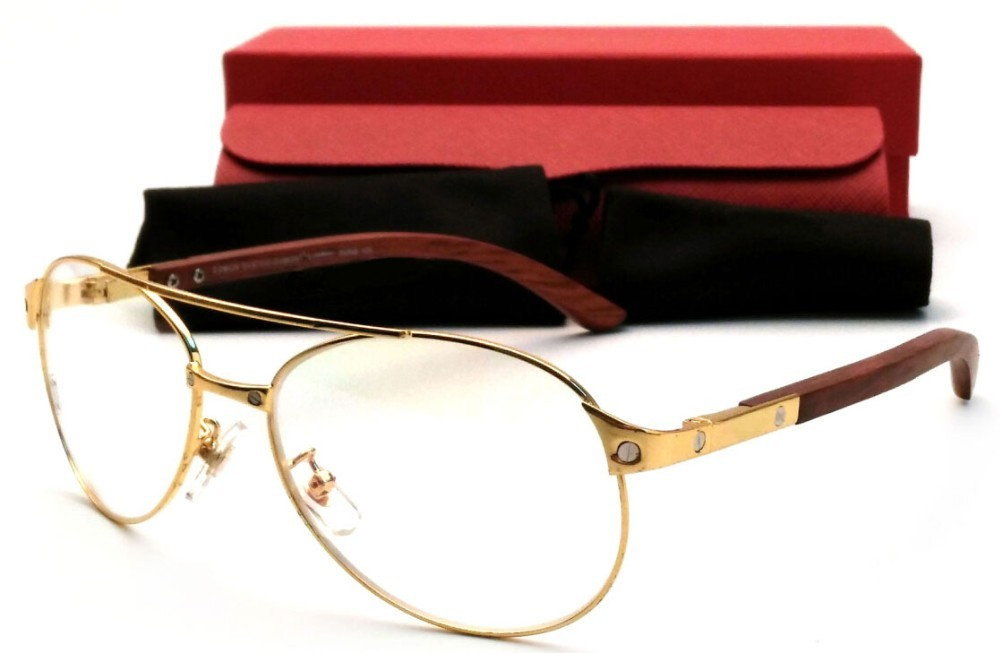 525aab7156 Gold Polarized Sunglasses Gafas Semi Rimless Metal Frame Classic Wood  Buffalo Men Women Outdoor Sun glasses · Cartier Wood Eyeglasses ...