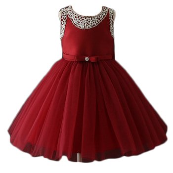 Latest Design High Class Girls Party Wear Western Sleeveless Chinese Red Prom Dresses with Big Bow Back