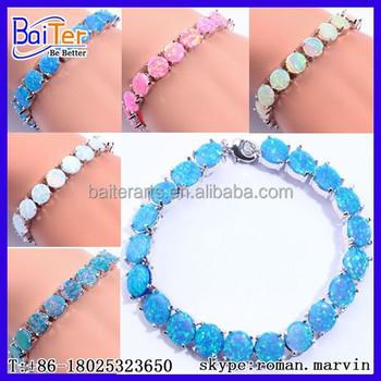 Womens Lab Created 925 Sterling Silver Fire Blue Opal Tennis Bracelet