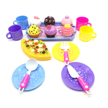 Kids plastic kitchen toy cooking cake and pizza play set