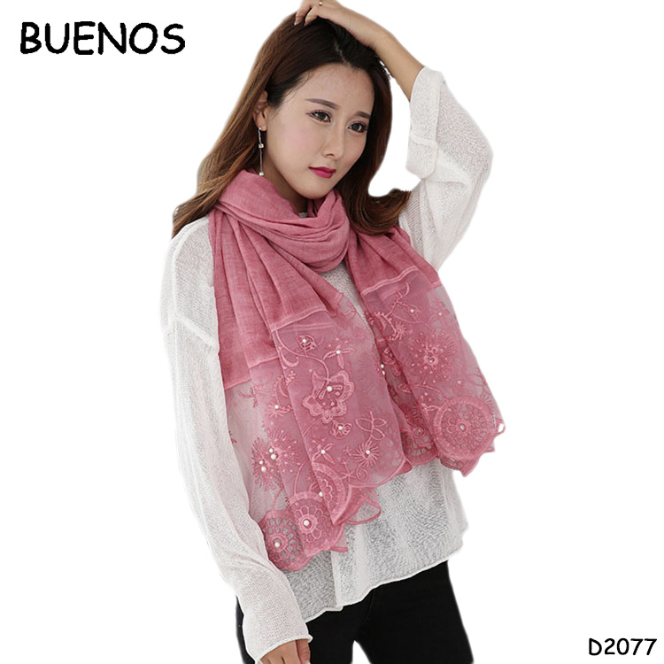 New Cotton And Linen Solid Color Shawl Women Long Fashion Lace Scarf