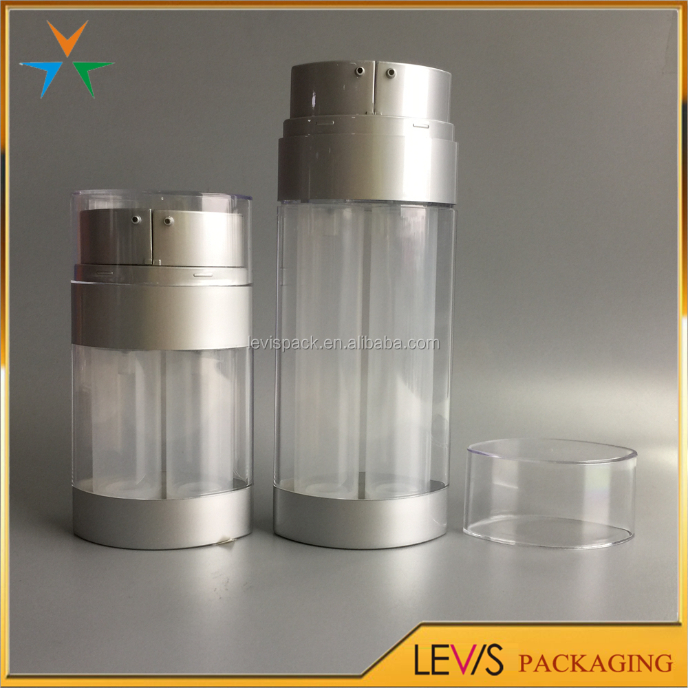 High quality plastic double chamber empty airless cosmetic bottle