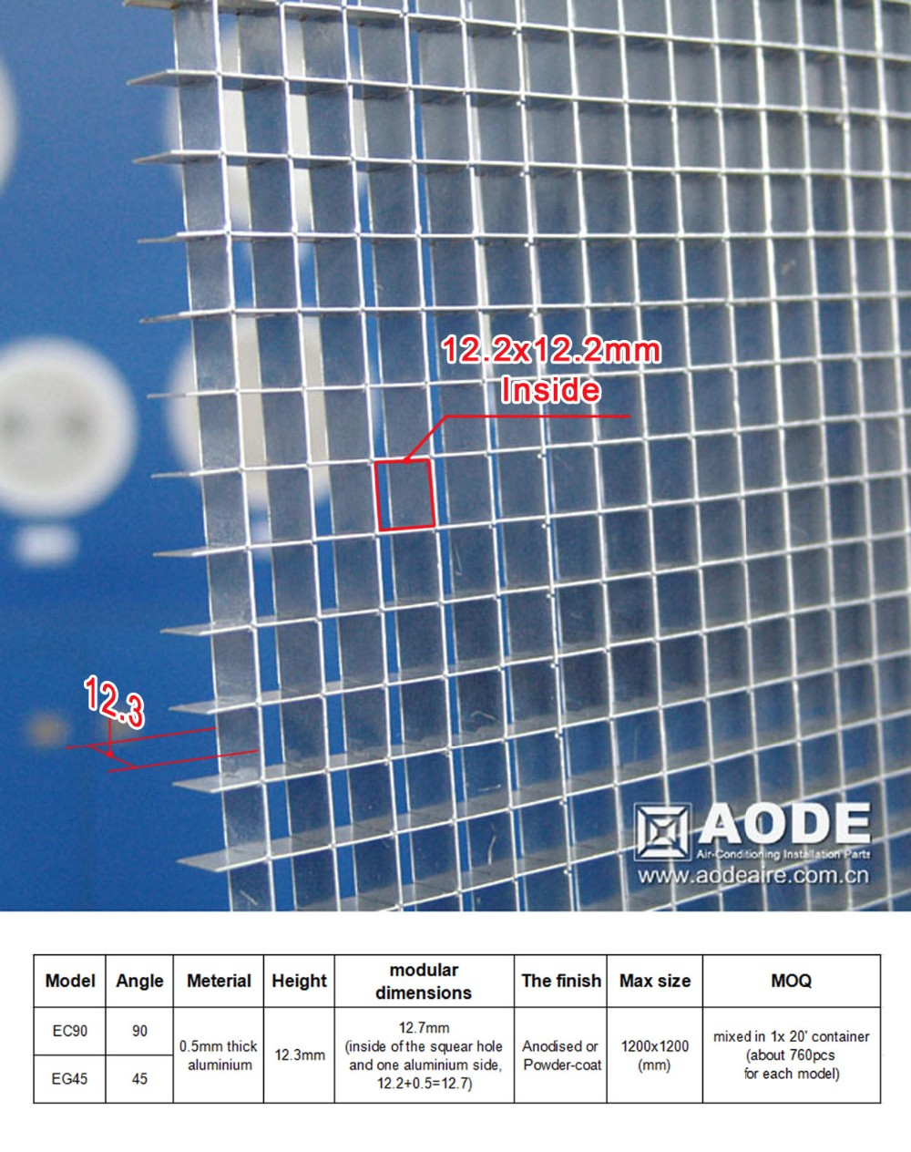 Aluminium Eggcrate Square Air Vent With Removable Core For Hvac ...