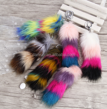 Rainbow Printed Logo Metal Crab cheap fake fur fox tail keychain manufacture