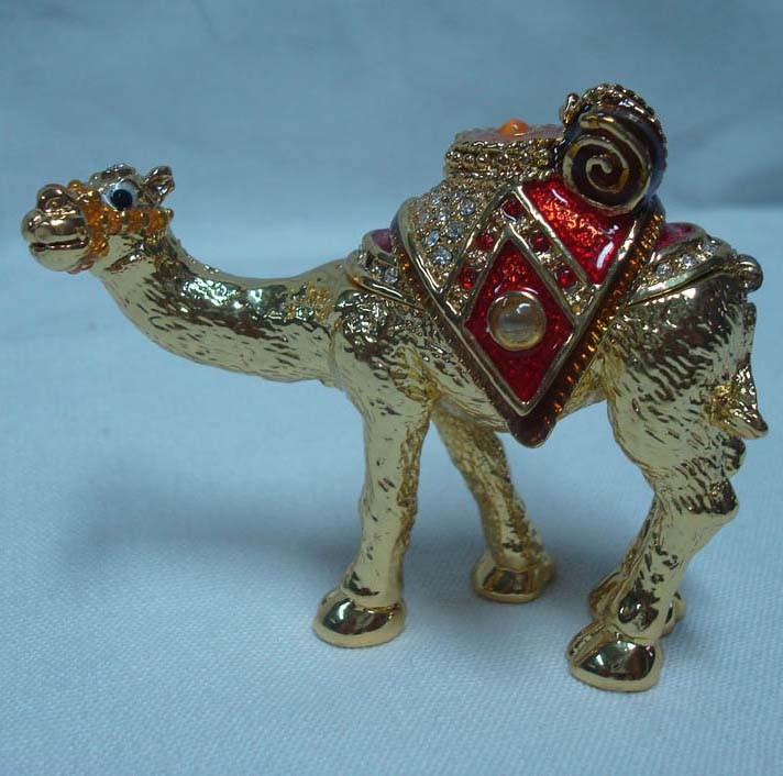 Golden plated Pewter Alloy Crystal Hand painted Camel Metal trinket box(P05054d)