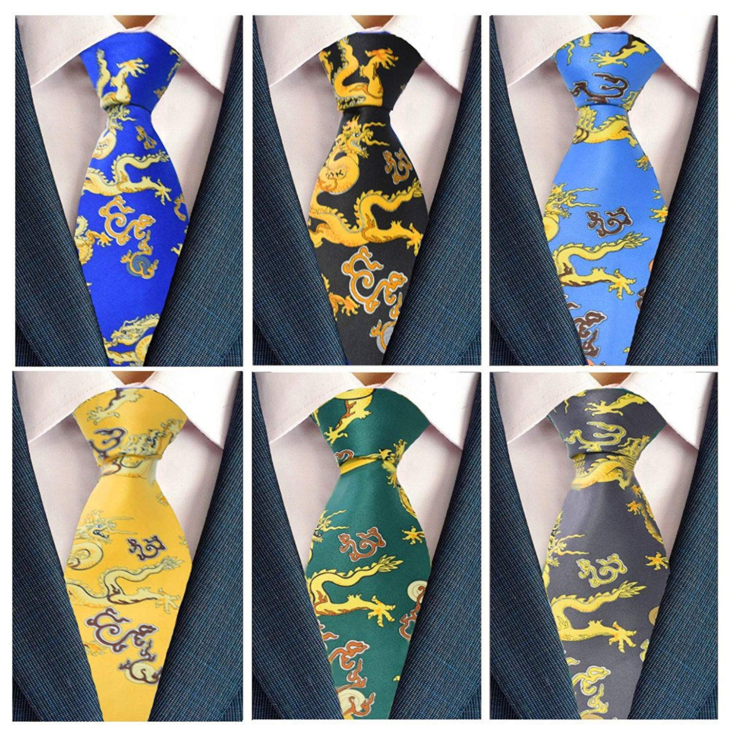 205031bfd7b25 Get Quotations · Fuerjia Mens Ties high popularity Silk Tie Sheep Dragon  Panda Printed Jacquard Woven Neck ties