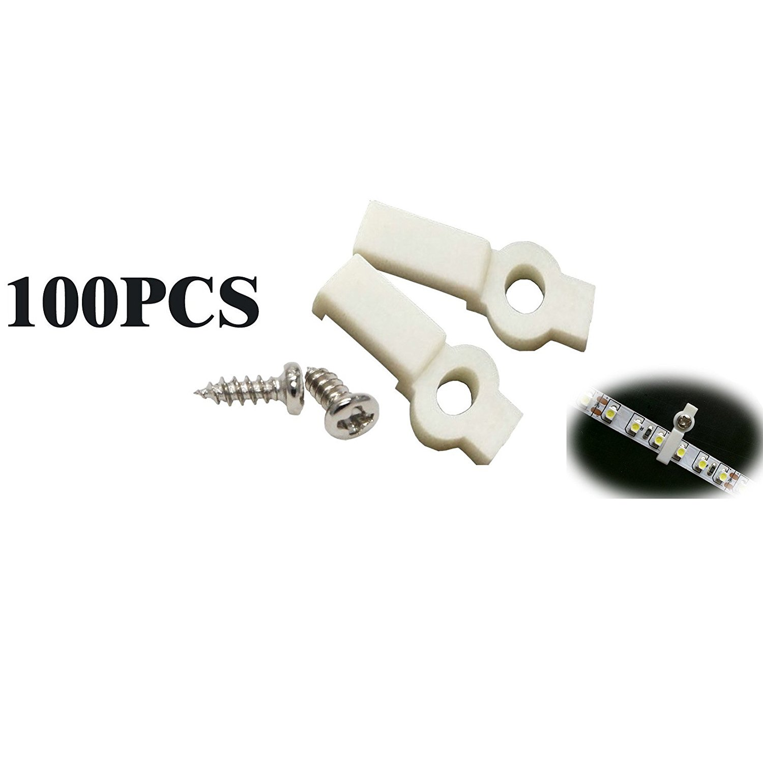 FINELED 100 Pcs Mounting Bracket Clip for 10mm Wide 3528 5050 5630 3014 Non-waterproof Led Strip Light,clip-one Side Fixing,screws Included (Ideal for strip width 10mm)