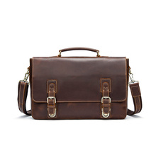 Factory Design Low MOQ Coffee Flap Over Genuine Leather Messenger Tote Laptop Bag Best Classic Men'S Briefcase Aktentasche 8922