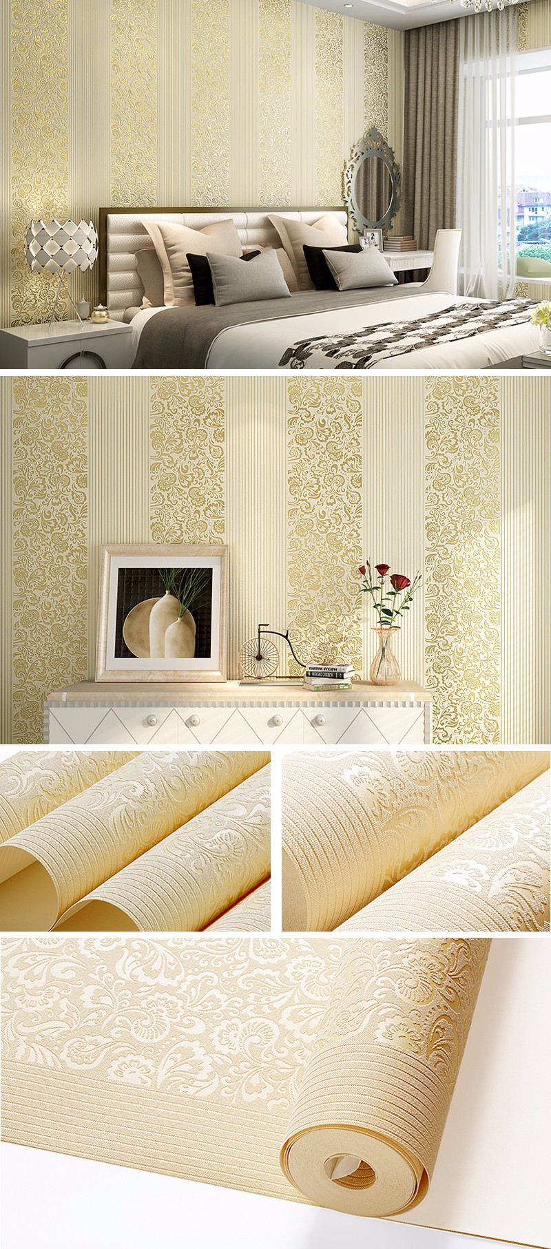 Embossed Vertical Striped Wallpaper 3d Luxury Wall Paper Roll Living ...
