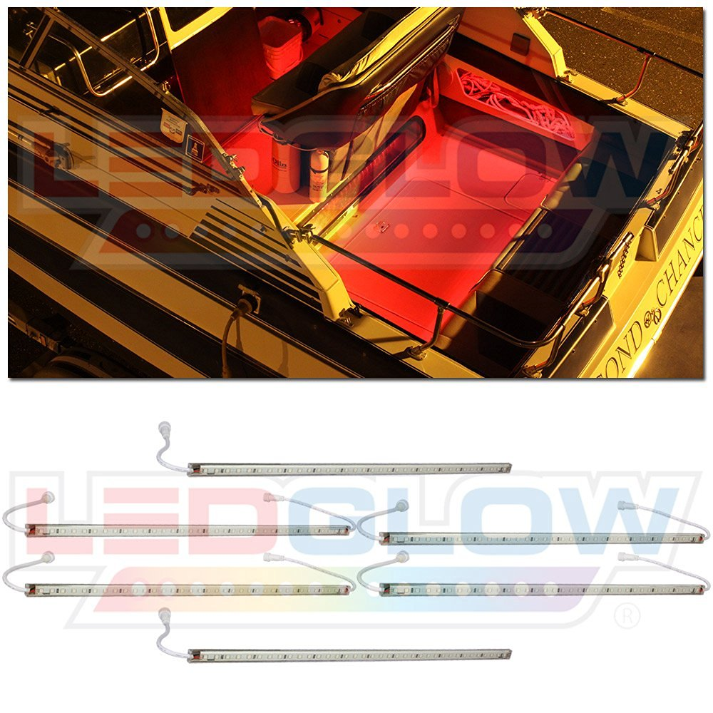 LEDGlow 6pc Red LED Boat Deck and Cabin Lighting Kit - 216 LEDs - Waterproof Connectors and Light Tubes