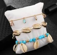 Tocona 3 шт./компл., богемный браслет для щиколоток с камнем для женщин, пляжный Wtar, висячая цепочка с кристаллами, летние украшения, аксессуары ...(Китай)