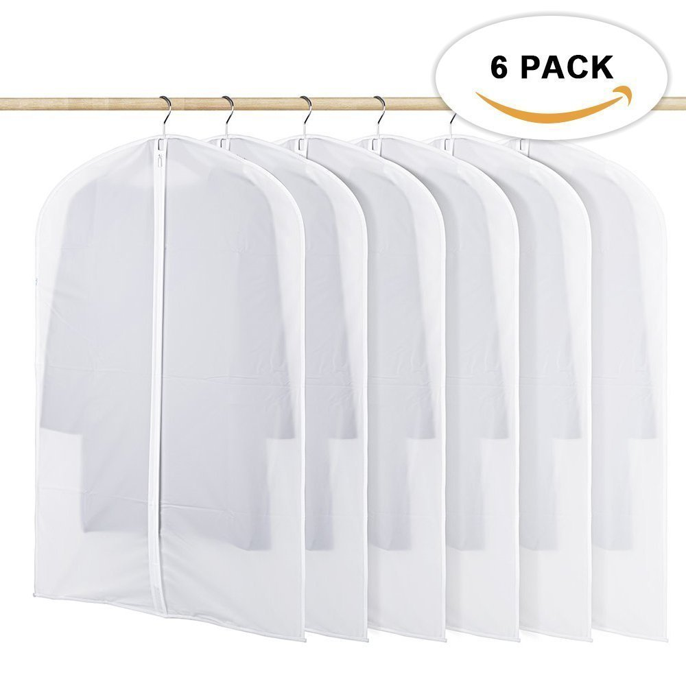 "Garment Bag, Clear Moth Proof Suit Cover, 6 Pack Breathable PEVA Garment Protector Covers, Full Zipper Dustproof Closet Bags for Clothes Storage (L), 24"" x 48"""