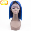 Best selling 12 inch peruvian hair remy braid hair wig ombre blue color bob style full lace wig for beautiful women