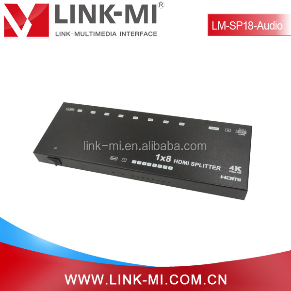 LINK-MI LM-SP18-Audio 1 HDMI Input DC 5V Power Supply 8 Port AV Audio Video Splitter