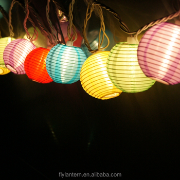 10 Pack Of Multi Color Mini Oriental Chinese Round Led Light Paper Lantern