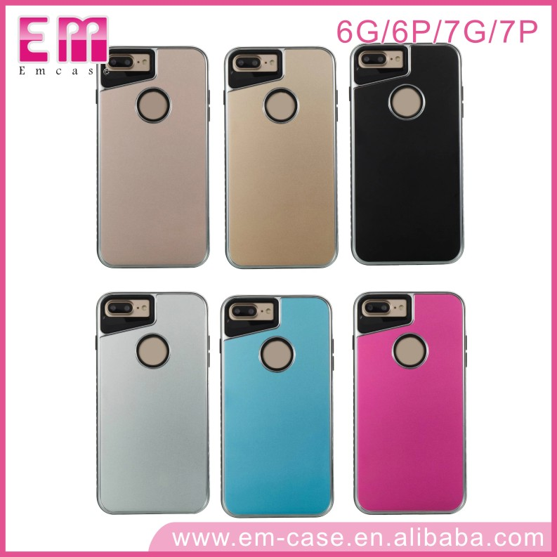 TPU+Metal Panel Back Cover Case for iPhone 7 Plus Brushed Metal Case for iPhone 7 7Plus