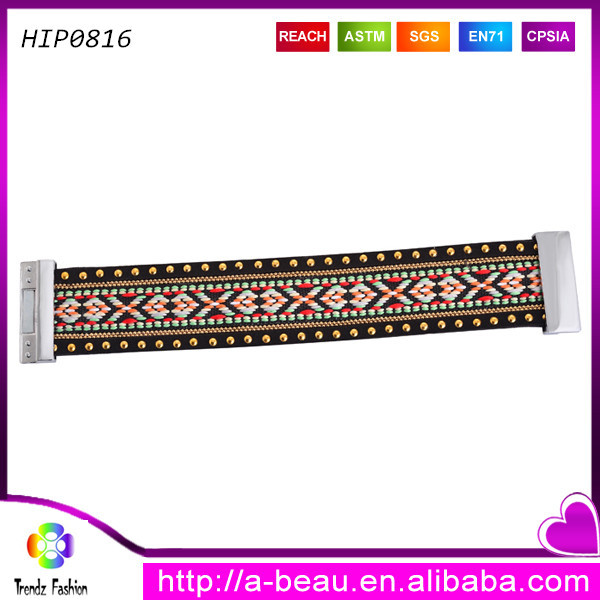 Magnetic clasp brocade many patterns leather bracelet