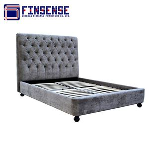 indian luxury furniture bedroom velvet fabric bed with wooden frame