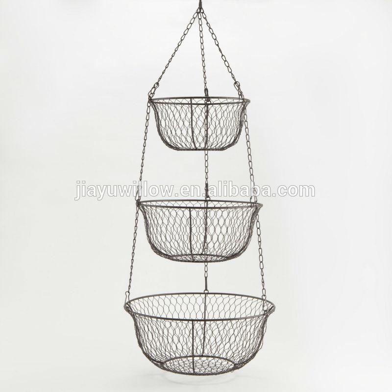 3 tier metal fruit basket 3 tier wall basket 3 tier hanging basket