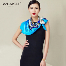 WENSLI Female 90*90 CM Big Square Silk Satin Printed Scarf
