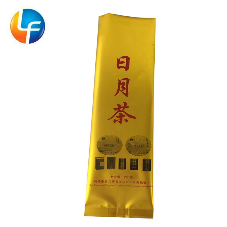 Gold printed PET aluminum packing bags with hot seal for tea