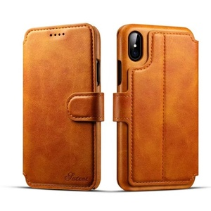Hot sale!!! Credit card insert slot wallet leather case cover skin for iPhone X, stand flip cellphone case