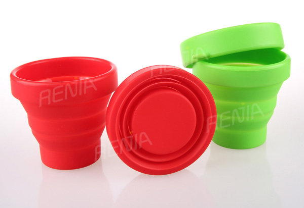 RENJIA travel drinking cup,silicone foldable drinking cup,silicone folder cup